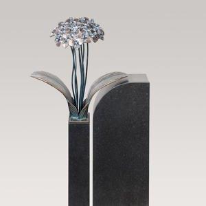 Tivoli Uno Floraler Bronze / Granit Grabstein für Ein Urnengrab mit Blume