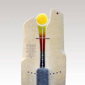 Malina Glas Grabmal Regenbogen und Edelstahlkreuz
