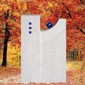 Avellino Grabdenkmal Naturstein Modern mit Blauer Kugel