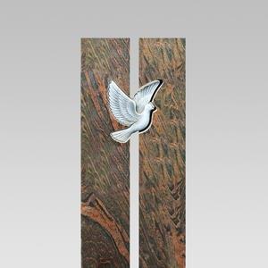 Grabmal Einzelgrab Granit Zweiteilig Design mit Taube