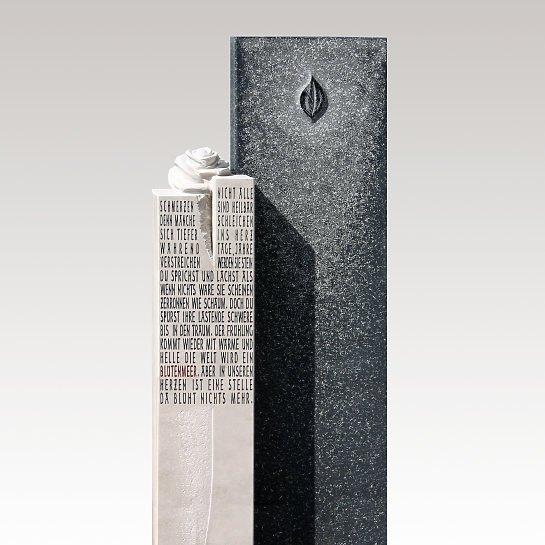 Dolorosa – Grabmal Granit Kalkstein frostsicher mit Rose & Inschrift für ein Einzelgrab