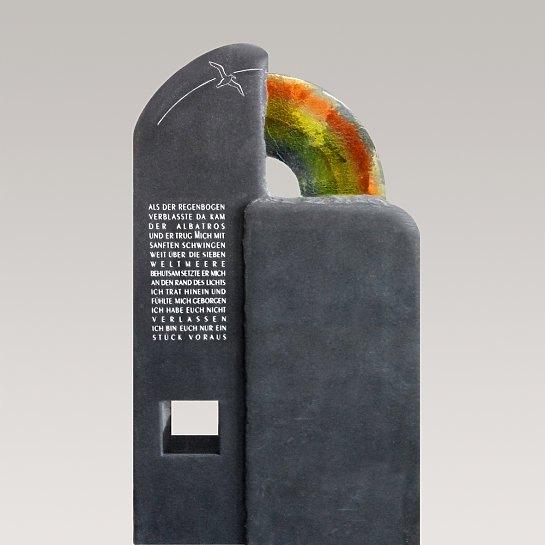 Migana – Grabmal Granit Vogel & Regenbogen Glas