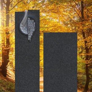 Cielo Angelo Grabmal Granit Zweiteilig Schwarz mit Engel Flügel