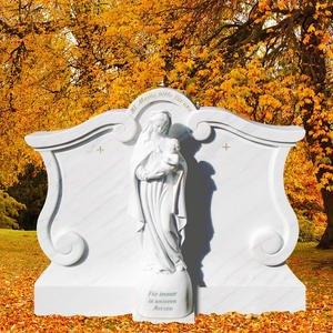 Madonna Alba Grabmal Marmor Klassisch Weiss mit Maria Figur