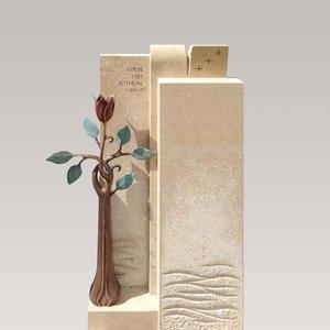 Poesia Grabmal Naturstein Bronze Modern mit Rose Bestellen