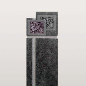 Vienne Grabstein Doppelgrab Granit Grabmalkunst mit Rose