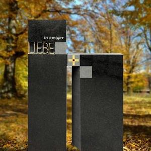 Lumero Grabstein Doppelgrab Granit Modern Bronze