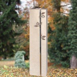 Rosano Grabstein Doppelgrab mit Edelstahl Kunst bestellen