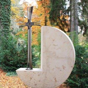 Montella Grabstein Doppelgrab Rund mit Bronze Kreuz