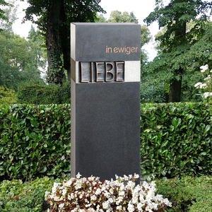 Carisso Amore Grabstein Einzelgrab Granit Schwarz mit Bronzeelement