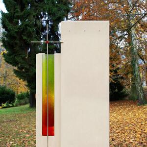 Grabstein Einzelgrab modern farbiges Glas mit Metallkreuz