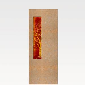 Albona Lignum Grabstein für ein Doppelgrab mit Glaseinsatz Lebensbaum