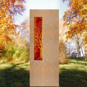 Albona Lignum Grabstein für ein Kindergrab mit Glaseinsatz Lebensbaum