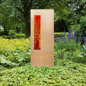 Albona Lignum Grabstein für ein Urnengrab mit Glaseinsatz Lebensbaum
