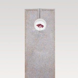 Raphael Speculo Grabstein Granit mit Glaskugel & Blume