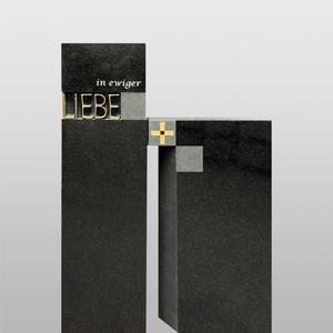 Lumero Grabstein Granit Modern Bronze Schrift Liebe