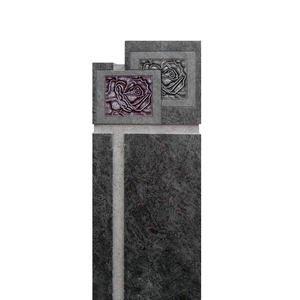 Vienne Grabstein Granit Stele mit Rose vom Bildhauer