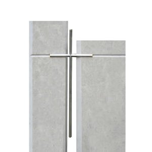 Lavardin Grabstein Kalkstein Hell Zweiteilig mit Metall Kreuz