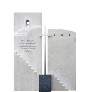 Porto Clara Grabstein Mehrteilig mit Metall Kreuz & Treppe
