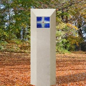 Oriago Grabstein mit Blauem Glaseinsatz Bestellen
