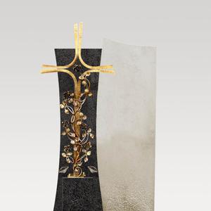 Forio Cruzis Grabstein mit Bronze Grabkreuz für Ein Doppelgrab in Granit/Kalkstein