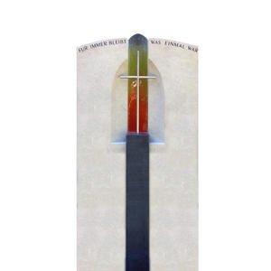 Lumos Grabstein Modern Farbiges Regenbogen Glas & Kreuz