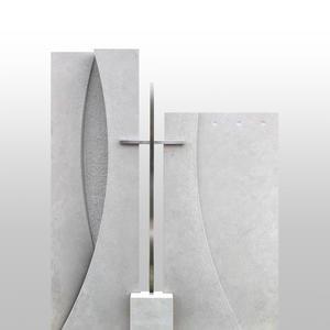 Legnaro Grabstein Modern Zweiteilig mit Edelstahl Kreuz