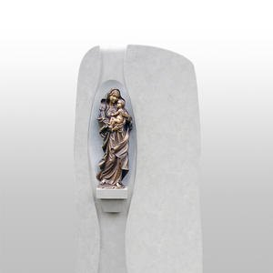 Magnifico Grabstein Naturstein Hell Bronze Madonna Figur