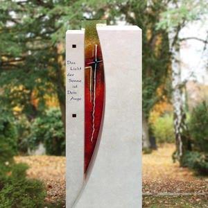 Grabstein Naturstein Modern Mehrfarbig Glas