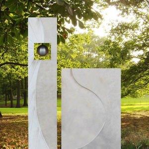 Corona Grabstein Naturstein Modern Zweiteilig Kugel Gestaltung