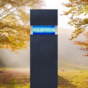 Carisso Vetro Grabstein Schwarzer Granit mit Blauem Glas