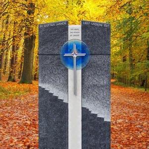 Ravenna Grabstein Urnengrab Granit Blaues Glas & Treppe