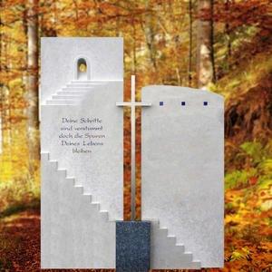 Porto Clara Grabstein Urnengrab Mehrteilig Treppe & Kreuz