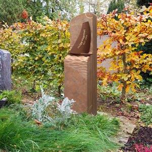 Ave Maris Grabstein Urnengrab Sandstein Modern Bronze Schiff