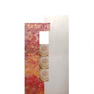 Rosso Legno Grabstein Zweifarbig Rot / Weiß mit Holz