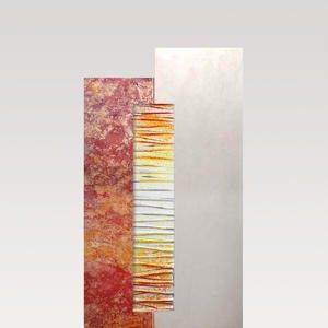 Rosso Vetro Grabstein Zweifarbig Rot / Weiß mit Lebensbaum Glas