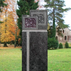Vienne Grabstele Granit mit Rose Online Bestellen