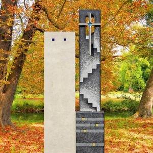 Nicosia Grabzeichen Urnengrab Naturstein Zweiteilig Kreuz