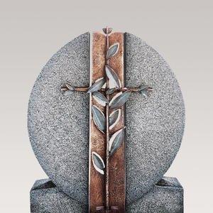 Aversa Cruzis Granit Doppelgrab Grabdenkmal mit Bronze Symbol Kreuz & Floral