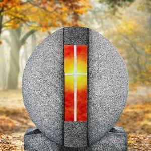 Aversa Vetro Granit Doppelgrab Grabdenkmal mit Glas Symbol Kreuz Gelb/rot