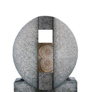 Aversa Legno Granit Doppelgrab Grabdenkmal mit Holz Symbol in Eiche