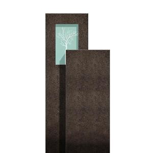 Amancio Novus Granit Doppelgrab Grabstein mit Glas & Lebensbaum