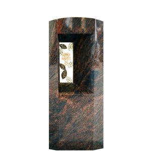 Fenestra Granit Doppelgrabmal / Poliert mit Floralem Bronzeornament & Inschrift