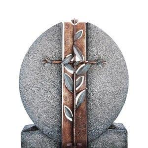 Aversa Cruzis Granit Einzelgrab Grabdenkmal mit Bronze Symbol Kreuz & Floral