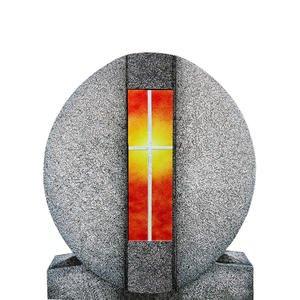 Aversa Vetro Granit Einzelgrab Grabdenkmal mit Glas Symbol Kreuz Gelb/rot