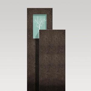 Amancio Novus Granit Einzelgrab Grabstein mit Glas & Lebensbaum
