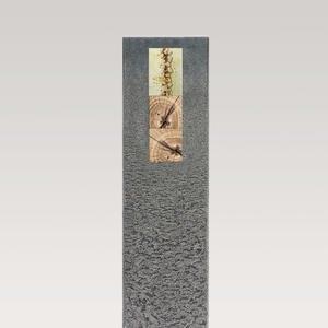 Celenta Moderno Granit Einzelgrabstein mit Holz & Glas Dekor