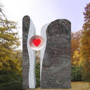 Lubliana Zweiteiliges Grabmal mit Glas Herz