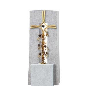 Amico Credo Granit Grabstein Doppelgrab mit Grabkreuz aus Schmiedebronze