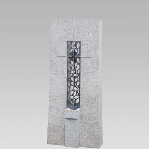 Amico Cruzis Granit Grabstein Einzelgrab mit Bronze Kreuz Ornament